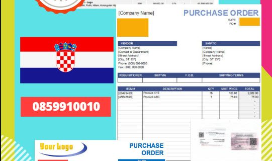 Jasa Legalisir Dokumen Perusahaan – Purchase Order (PO) Di Kedutaan Kroasia    08559910010