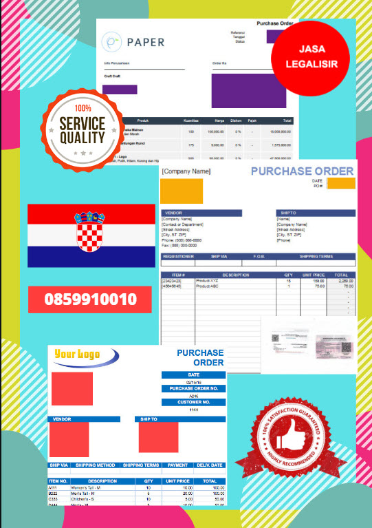 Jasa Legalisir Dokumen Perusahaan - Purchase Order (PO) Di Kedutaan Kroasia    08559910010