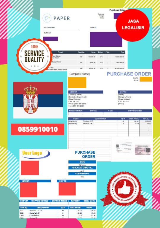 Jasa Legalisir Dokumen Perusahaan - Purchase Order (PO) Di Kedutaan Serbia || 08559910010