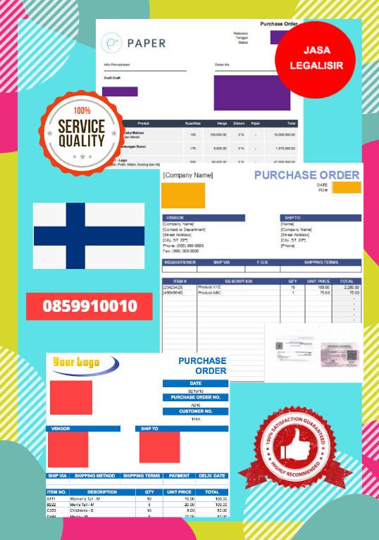 Jasa Legalisir Dokumen Perusahaan - Purchase Order (PO) Di Kedutaan Finlandia || 08559910010