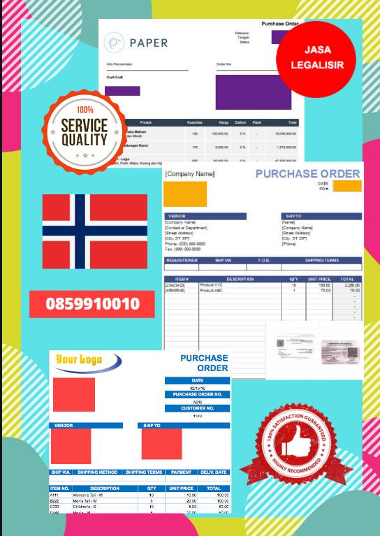 Jasa Legalisir Dokumen Perusahaan - Purchase Order (PO) Di Kedutaan Norwegia || 08559910010