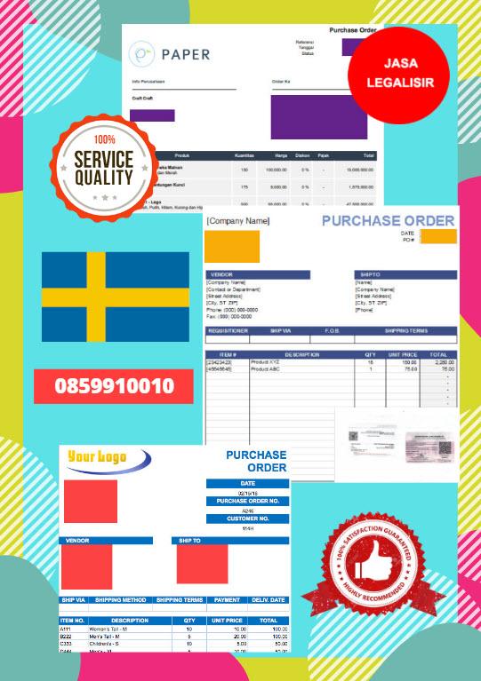 Jasa Legalisir Dokumen Perusahaan - Purchase Order (PO) Di Kedutaan Swedia || 08559910010