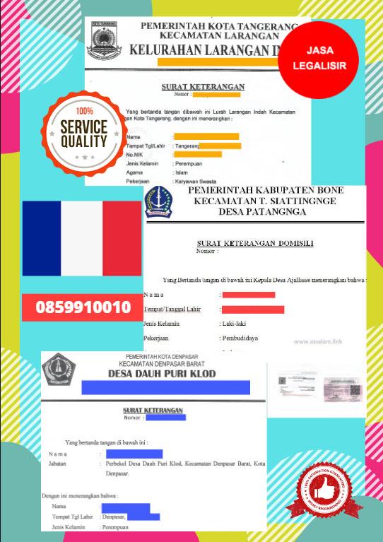 Jasa Legalisir Surat Keterangan Domisili Di Kedutaan Perancis || 08559910010