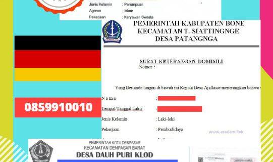Jasa Legalisir Surat Keterangan Domisili Di Kedutaan Jerman    08559910010