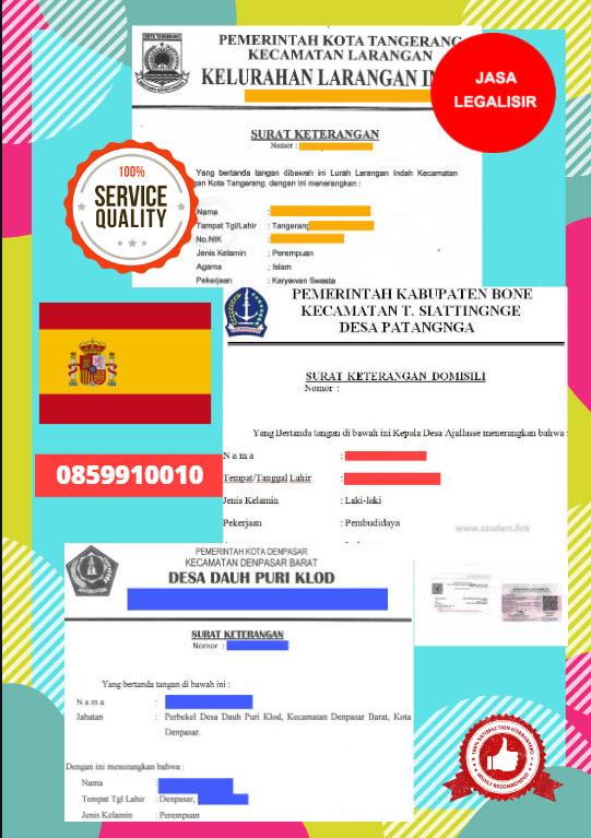 Jasa Legalisir Surat Keterangan Domisili Di Kedutaan Spanyol / Spain    08559910010