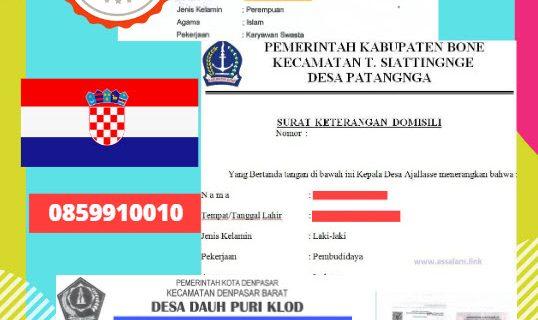 Jasa Legalisir Surat Keterangan Domisili Di Kedutaan Kroasia || 08559910010