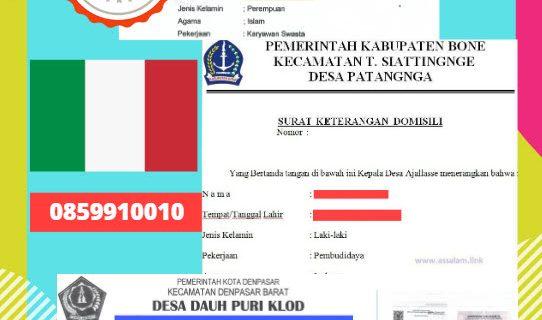 Jasa Legalisir Surat Keterangan Domisili Di Kedutaan Italia / Italy || 08559910010