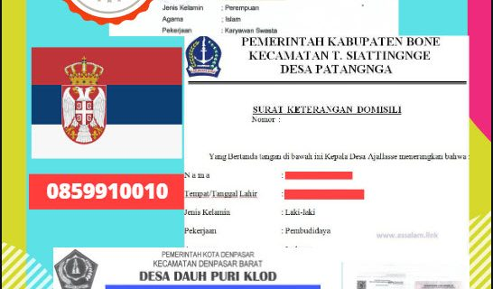 Jasa Legalisir Surat Keterangan Domisili Di Kedutaan Serbia || 08559910010