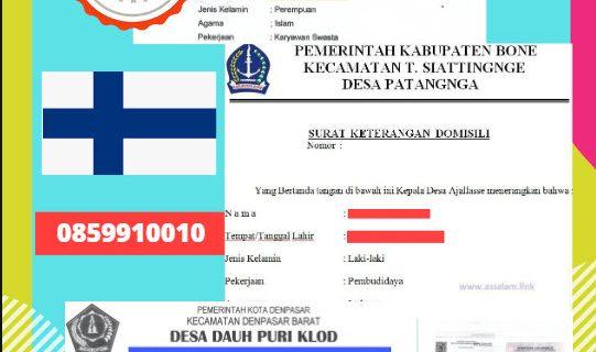 Jasa Legalisir Surat Keterangan Domisili Di Kedutaan Finlandia || 08559910010