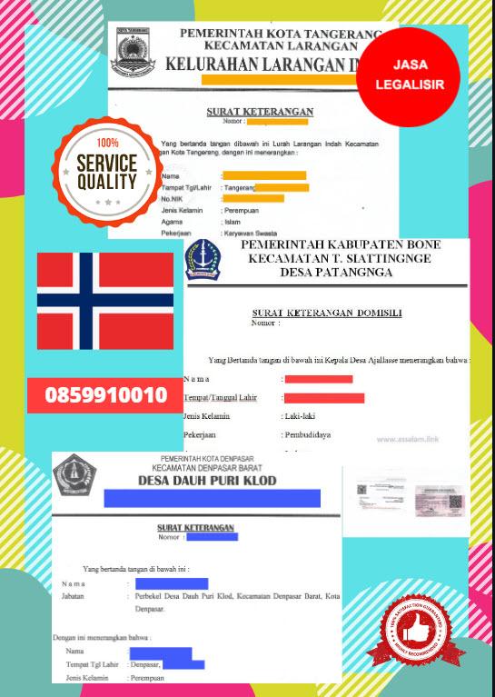 Jasa Legalisir Surat Keterangan Domisili Di Kedutaan Norwegia    08559910010