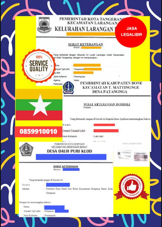 Jasa Legalisir Surat Keterangan Domisili Di Kedutaan Myanmar || 08559910010