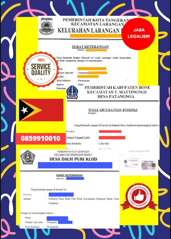 Jasa Legalisir Surat Keterangan Domisili Di Kedutaan Timor Leste || 08559910010