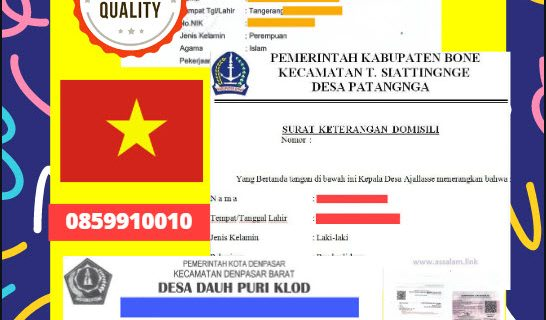 Jasa Legalisir Surat Keterangan Domisili Di Kedutaan Vietnam    08559910010