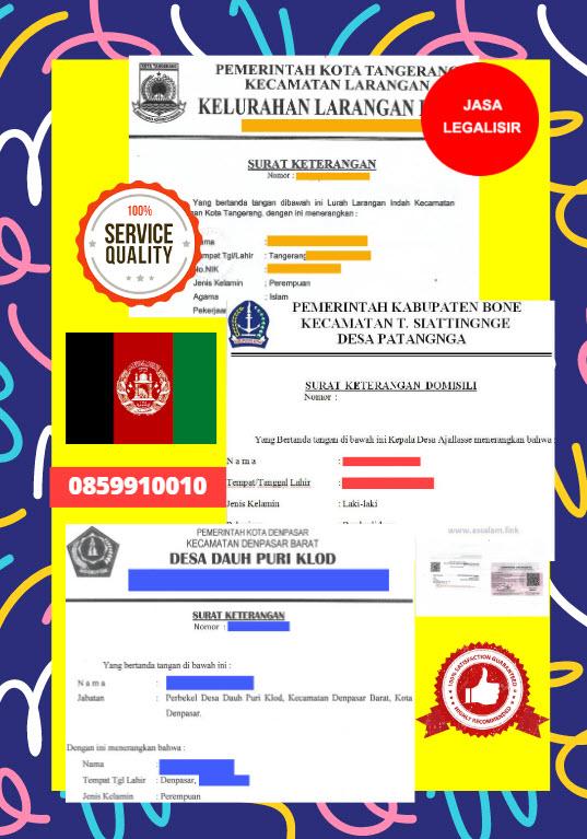 Jasa Legalisir Surat Keterangan Domisili Di Kedutaan Afghanistan || 08559910010