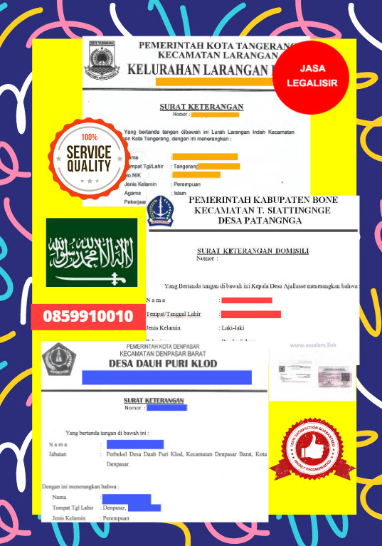 Jasa Legalisir Surat Keterangan Domisili Di Kedutaan Arab Saudi || 08559910010
