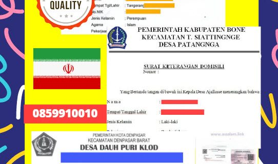 Jasa Legalisir Surat Keterangan Domisili Di Kedutaan Iran || 08559910010