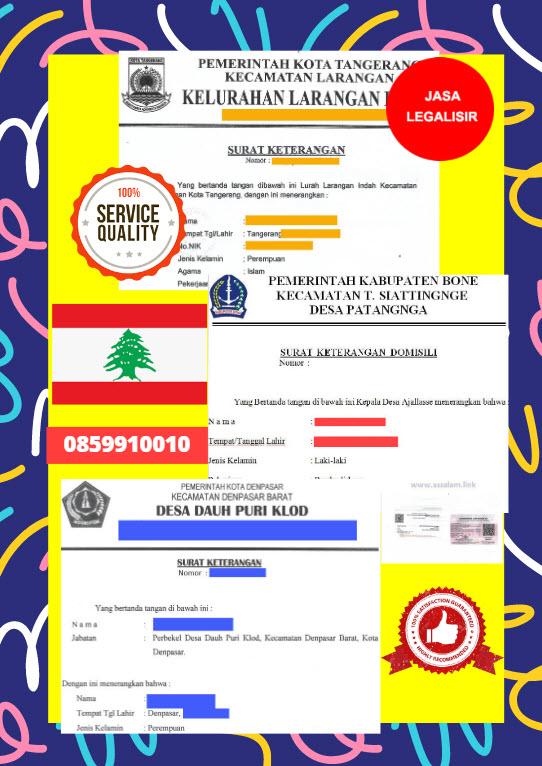 Jasa Legalisir Surat Keterangan Domisili Di Kedutaan Lebanon || 08559910010