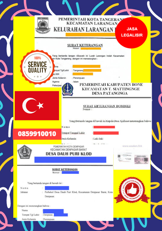 Jasa Legalisir Surat Keterangan Domisili Di Kedutaan Turki    08559910010