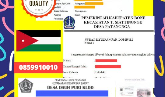 Jasa Legalisir Surat Keterangan Domisili Di Kedutaan Yordania || 08559910010