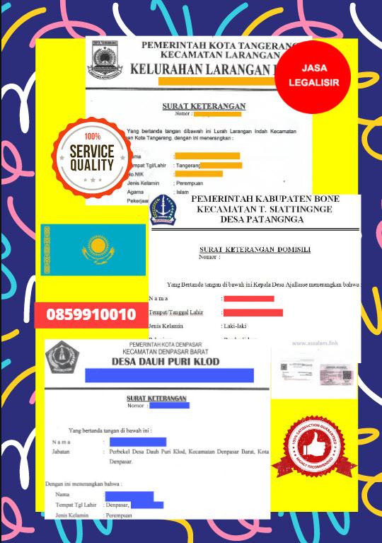 Jasa Legalisir Surat Keterangan Domisili Di Kedutaan Kazakhstan || 08559910010