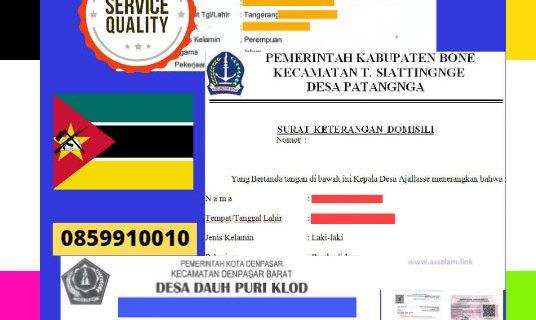 Jasa Legalisir Surat Keterangan Domisili Di Kedutaan Mozambik    08559910010