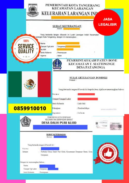 Jasa Legalisir Surat Keterangan Domisili Di Kedutaan Meksiko || 08559910010