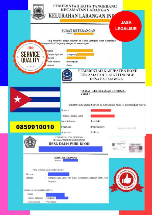 Jasa Legalisir Surat Keterangan Domisili Di Kedutaan Kuba || 08559910010