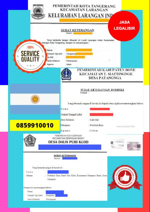 Jasa Legalisir Surat Keterangan Domisili Di Kedutaan Argentina || 08559910010