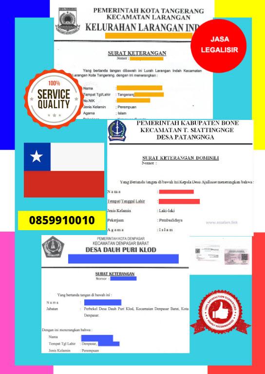 Jasa Legalisir Surat Keterangan Domisili Di Kedutaan Chili || 08559910010