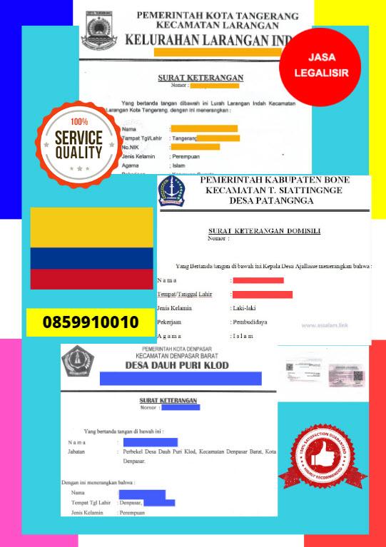 Jasa Legalisir Surat Keterangan Domisili Di Kedutaan Kolombia || 08559910010