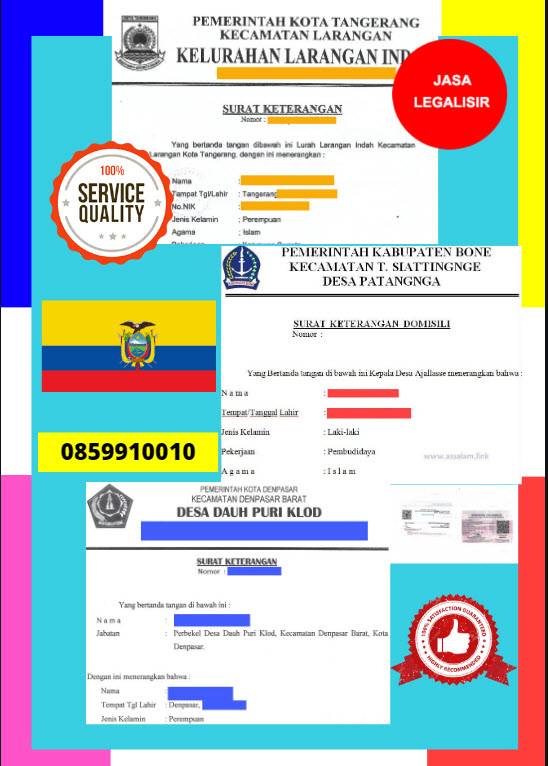 Jasa Legalisir Surat Keterangan Domisili Di Kedutaan Ekuador || 08559910010