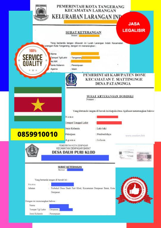 Jasa Legalisir Surat Keterangan Domisili Di Kedutaan Suriname || 08559910010
