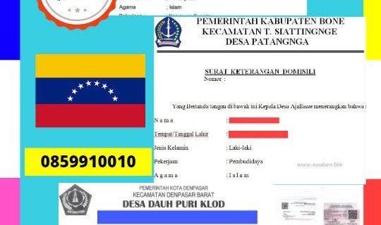 Jasa Legalisir Surat Keterangan Domisili Di Kedutaan Venezuela || 08559910010