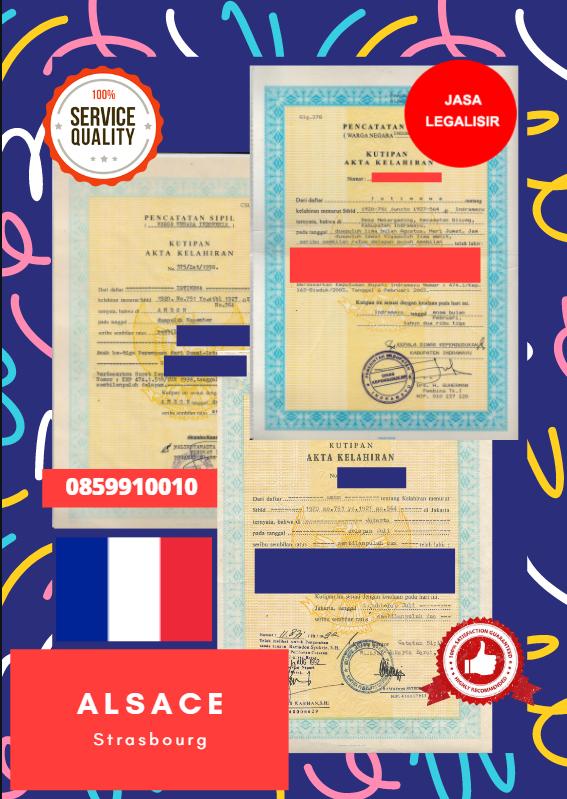 Jasa Legalisir Akta Lahir Indonesia di Alsace - Prancis || 08559910010