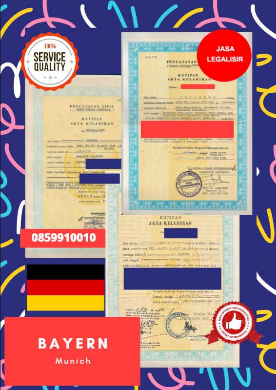 Jasa Legalisir Akta Lahir Indonesia di Bayern - Jerman    08559910010