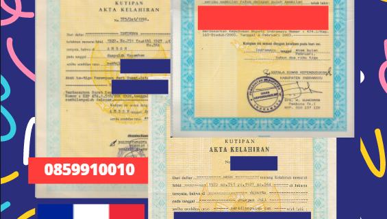 Jasa Legalisir Akta Lahir Indonesia di Centre-Val-de-Loire – Prancis || 08559910010
