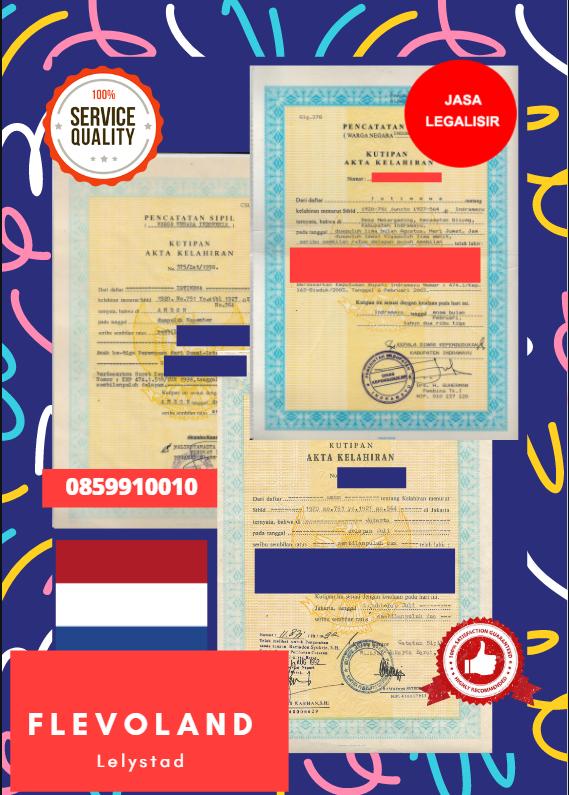 Jasa Legalisir Akta Lahir Indonesia di Flevoland - Belanda    08559910010