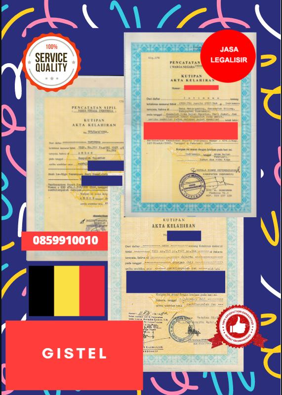 Jasa Legalisir Akta Lahir Indonesia di Gistel - Belgia    08559910010