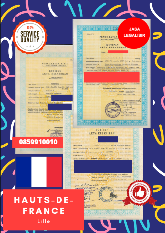 Jasa Legalisir Akta Lahir Indonesia di Hauts-de-France - Prancis || 08559910010
