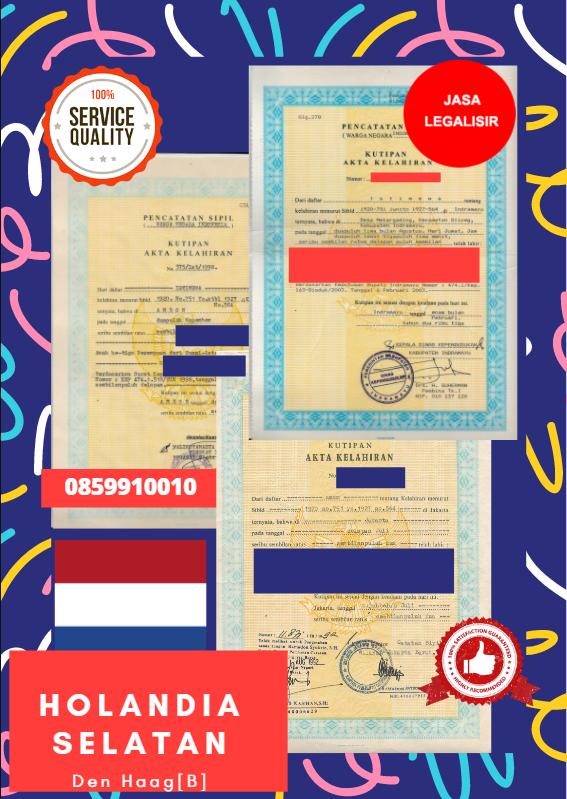Jasa Legalisir Akta Lahir Indonesia di Holandia Selatan - Belanda || 08559910010