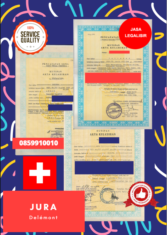 Jasa Legalisir Akta Lahir Indonesia di Jura - Swiss || 08559910010