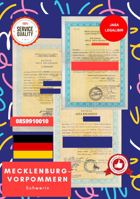 Jasa Legalisir Akta Lahir Indonesia di Schwerin - Jerman  || 08559910010