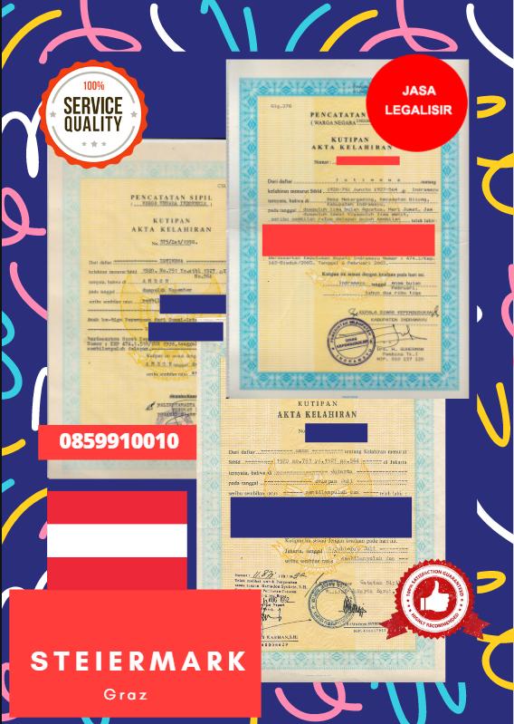 Jasa Legalisir Akta Lahir Indonesia di Steiermark - Austria    08559910010