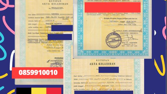 Jasa Legalisir Akta Lahir Indonesia di Veurne – Belgia    08559910010