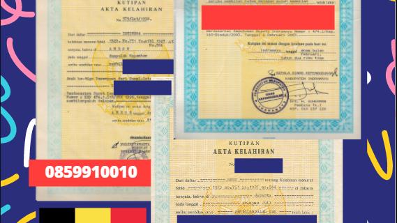 Jasa Legalisir Akta Lahir Indonesia di Zonnebeke – Belgia    08559910010