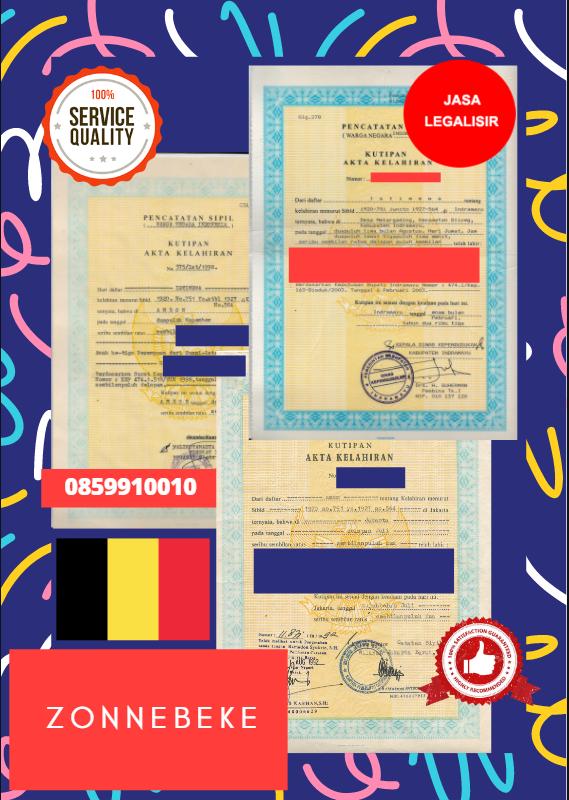 Jasa Legalisir Akta Lahir Indonesia di Zonnebeke - Belgia    08559910010
