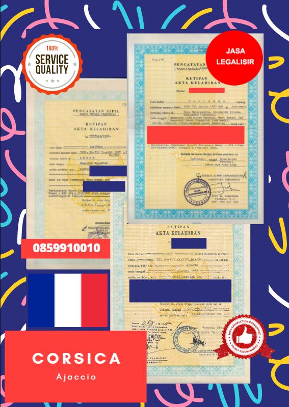 Jasa Legalisir Akta Lahir Indonesia di Corsica - Prancis || 08559910010