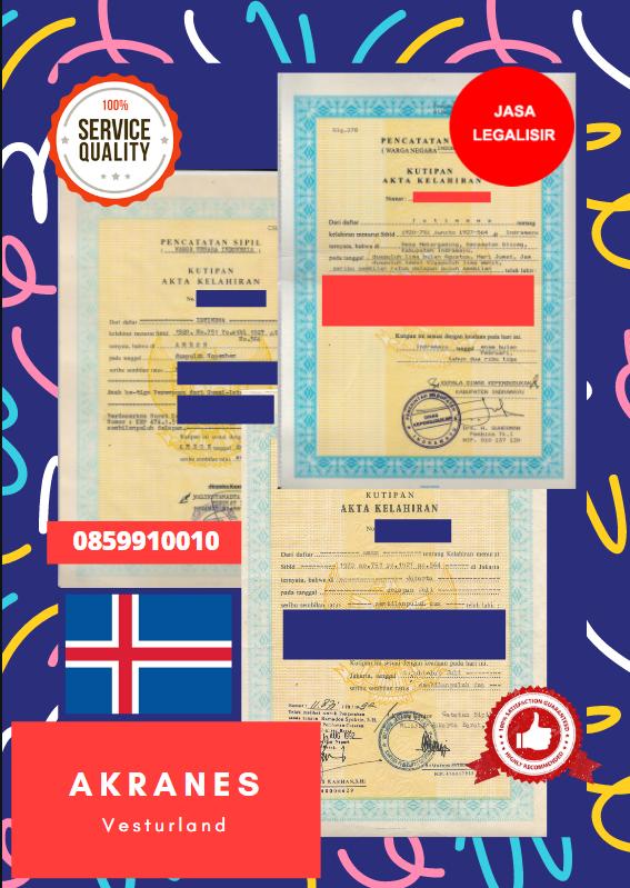 Jasa Legalisir Akta Lahir Indonesia di Akranes - Islandia || 08559910010