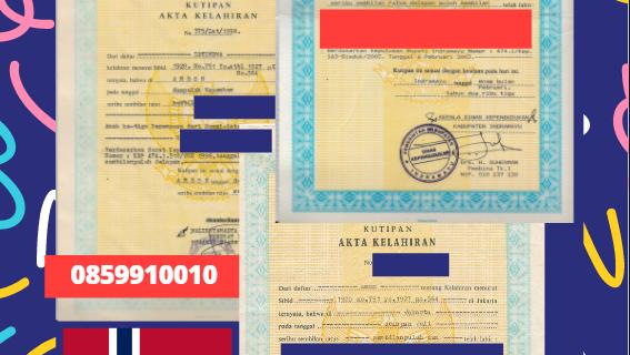 Jasa Legalisir Akta Lahir Indonesia di Arendal – Norwegia    08559910010
