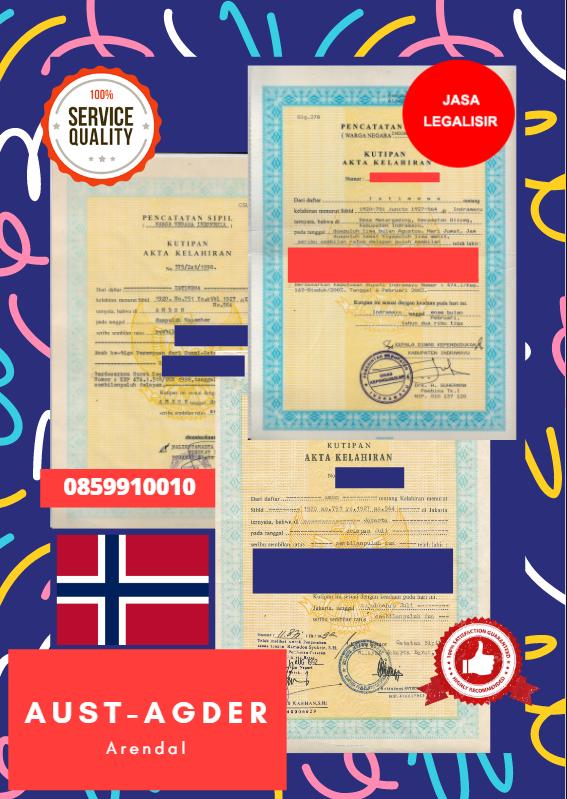 Jasa Legalisir Akta Lahir Indonesia di Aust-Agder - Norwegia    08559910010